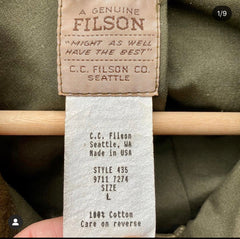 Filson Production Tag with Date Present