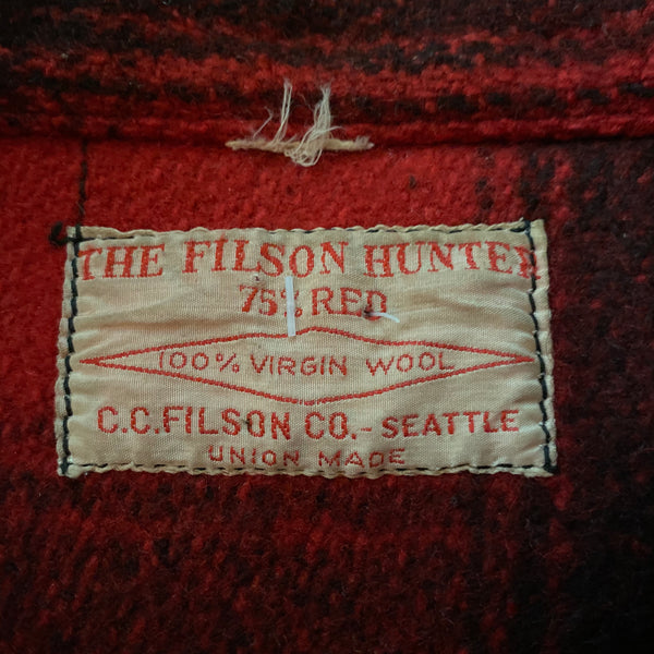 Tag View of Vintage Union Made 75% Red Filson Hunter Wool Coat Style 85