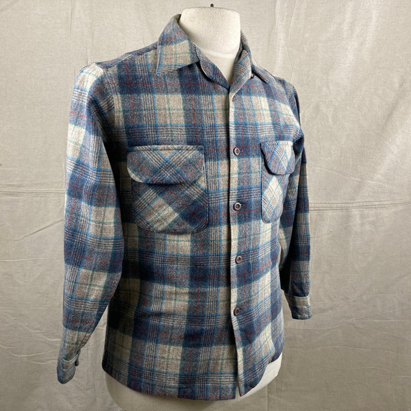 Right Angle View of Vintage Blue/Grey/Red Pendleton Board Shirt SZ M