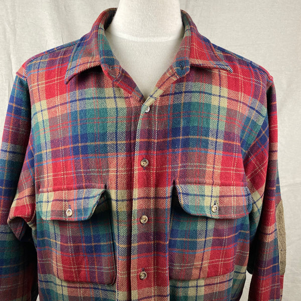 Upper Front View of Pendleton Red Blue & Green Trail Shirt SZ XL
