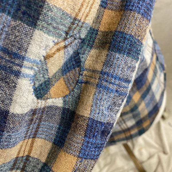 Patching on arm of Vintage Pendleton Blue/Grey Plaid Wool Flannel Shirt SZ M