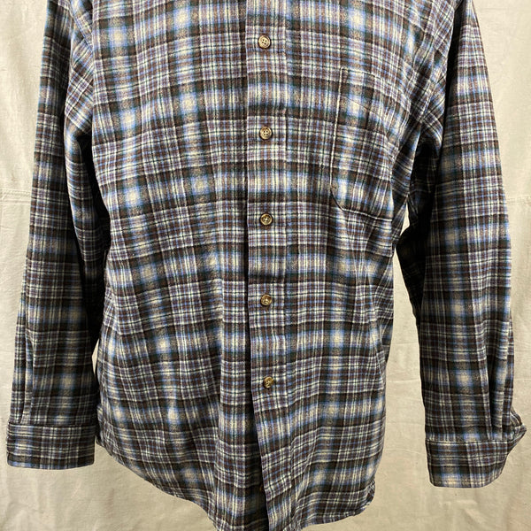 Lower Front View of Pendleton Blue & Brown Trail Shirt SZ L
