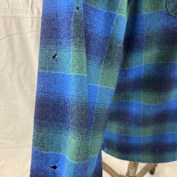 Small Moth Holes on Right Sleeve on Vintage Pendleton Blue & Green Shadow Plaid Wool Board Shirt SZ XL