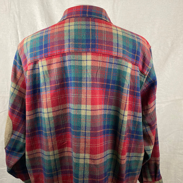 Upper Rear View on Pendleton Red Blue & Green Trail Shirt SZ XL