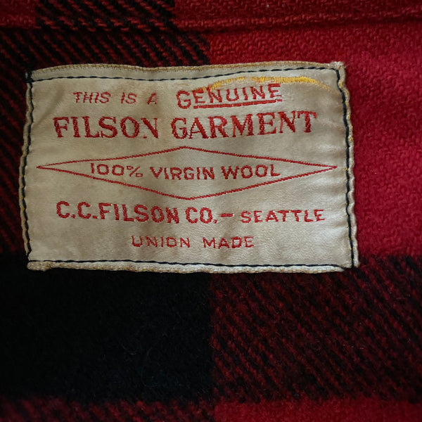 Union Made Tag View of Union Made Buffalo Plaid Filson Mackinaw Cruiser