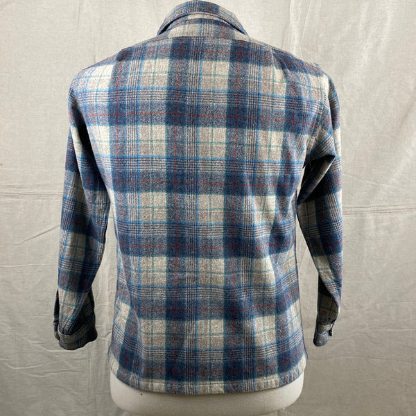 Rear View of Vintage Blue/Grey/Red Pendleton Board Shirt SZ M