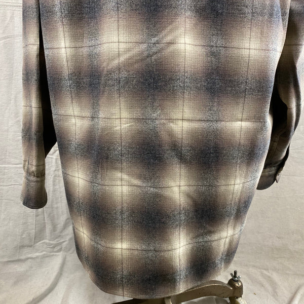 Lower Rear View of Vintage 50s/60s Era Pendleton Shadow Plaid Wool Flannel Shirt SZ 17
