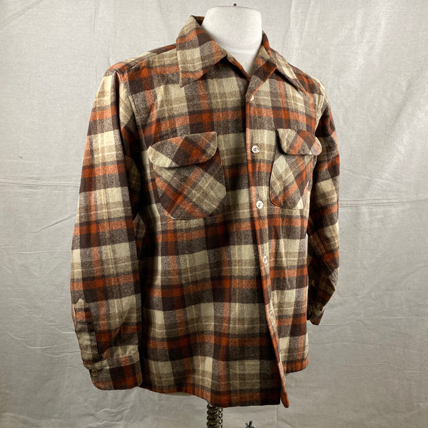Right Angle View of Vintage Brown & Tan Pendleton Board Shirt SZ L