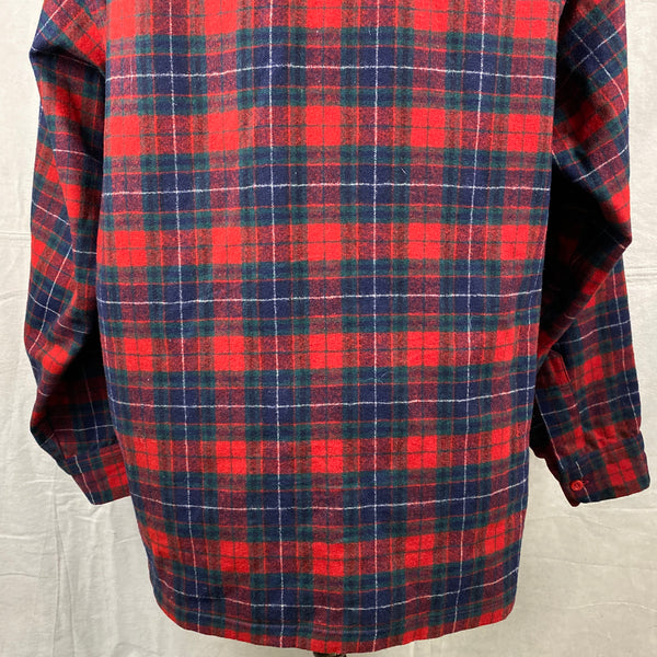 Lower Rear View of Vintage Red, Blue & Green Pendleton Board Shirt SZ XL