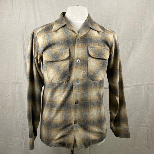Front View of Vintage Pendleton Grey & Tan Shadow Plaid Wool Board Shirt SZ S