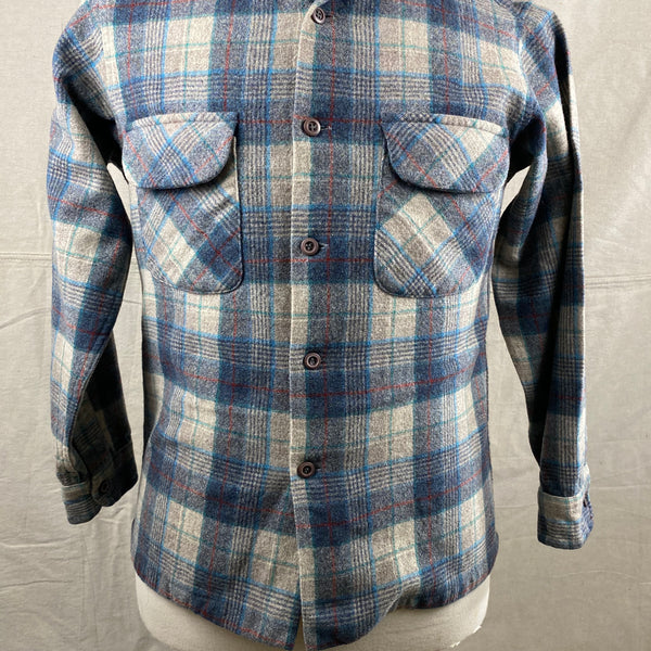 Lower Front View of Vintage Blue/Grey/Red Pendleton Board Shirt SZ M