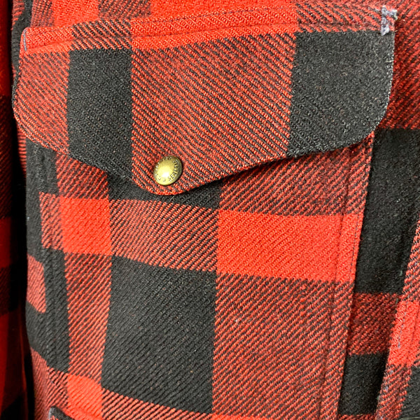Pocket View on Vintage Union Made Filson Mackinaw Wool Cruiser Red and Black Buffalo Plaid