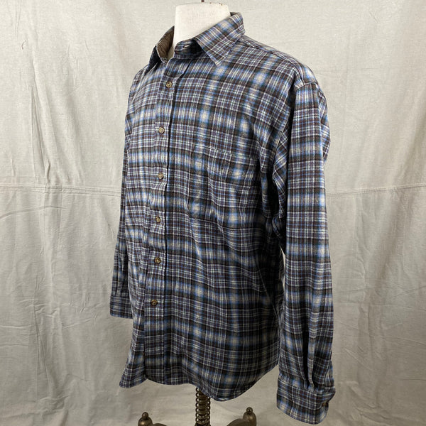 Left Angle View of Pendleton Blue & Brown Trail Shirt SZ L