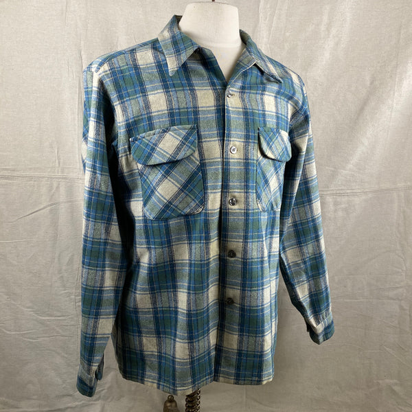 Right Angle View of Vintage Pendleton Blue/Green Plaid Wool Flannel Shirt SZ L