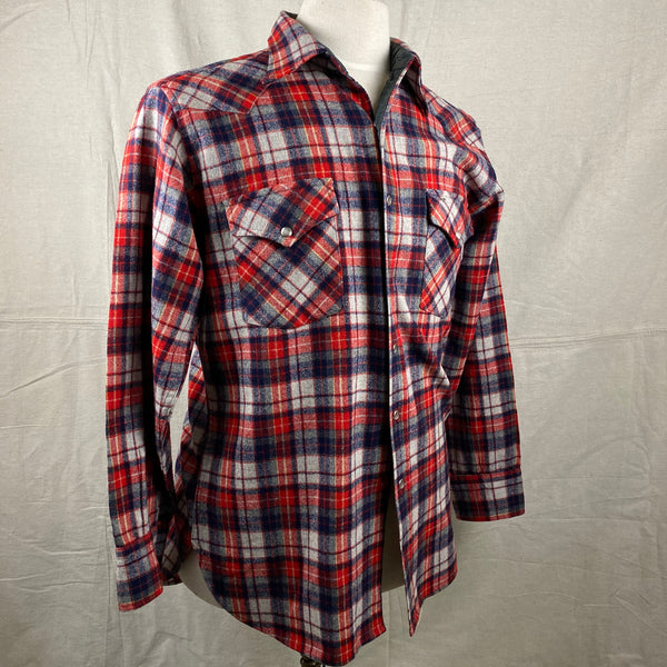 Right Angle View of Vintage Pendleton Red & Blue Plaid High Grade Western Wear Flannel Shirt SZ L