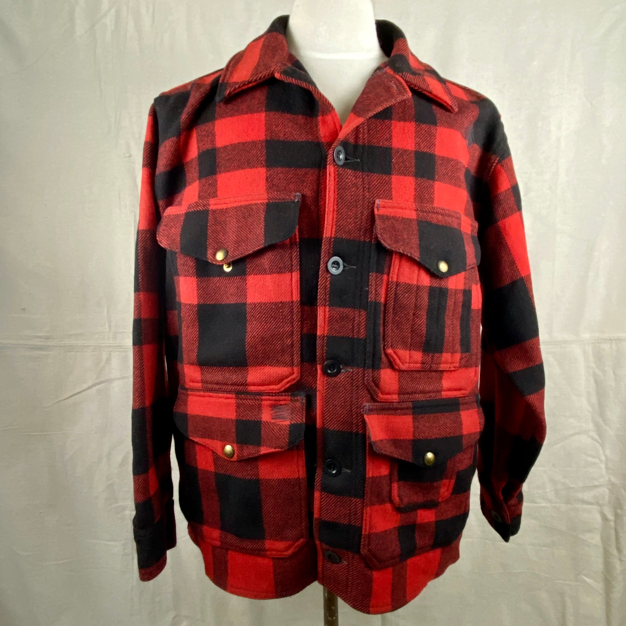 Front View on Vintage Union Made Filson Mackinaw Wool Cruiser Red and Black Buffalo Plaid