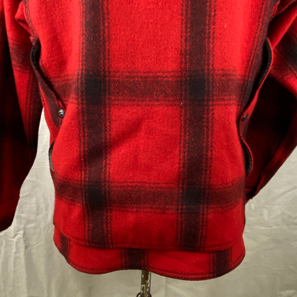 Lower Rear View on Vintage Union Made 75% Red Filson Hunter Wool Coat Style 85