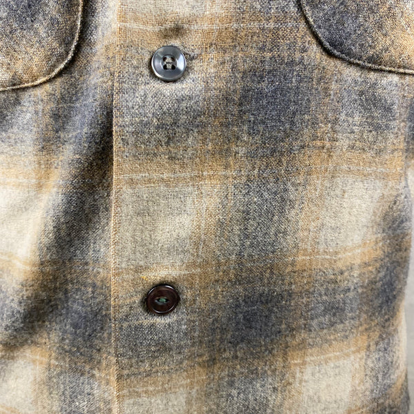 Button Replaced on front of Vintage Pendleton Grey & Tan Shadow Plaid Wool Board Shirt SZ S