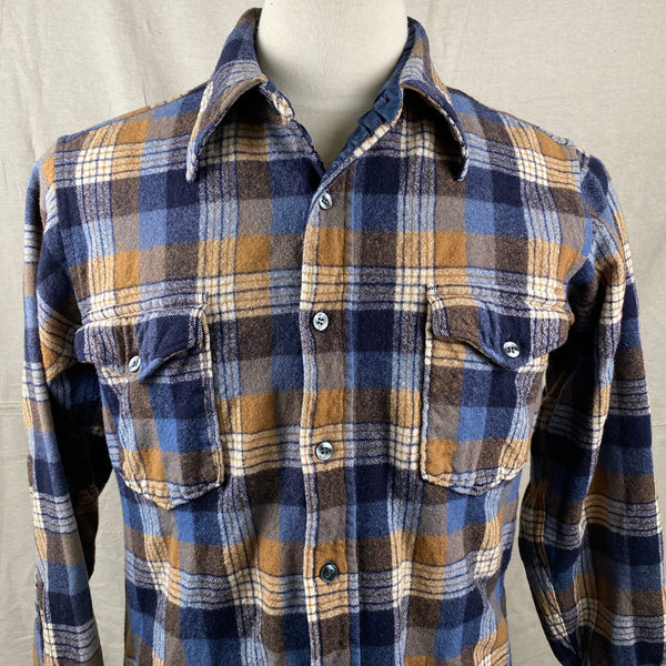 Upper Front View of Vintage Pendleton Plaid Wool Flannel Shirt SZ 16 1/2