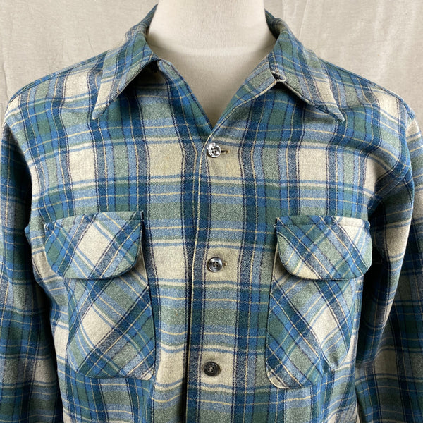 Upper Chest View of Vintage Pendleton Blue/Green Plaid Wool Flannel Shirt SZ L