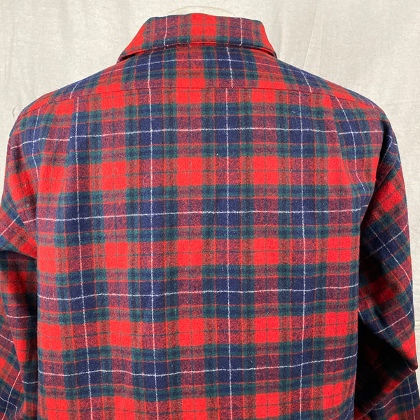 Rear Upper View of Vintage Red, Blue & Green Pendleton Board Shirt SZ XL