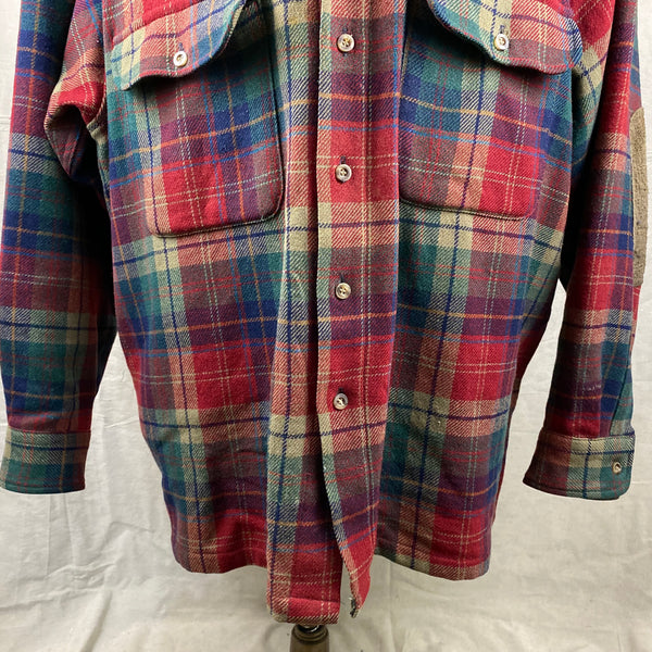 Lower Front View of Pendleton Red Blue & Green Trail Shirt SZ XL