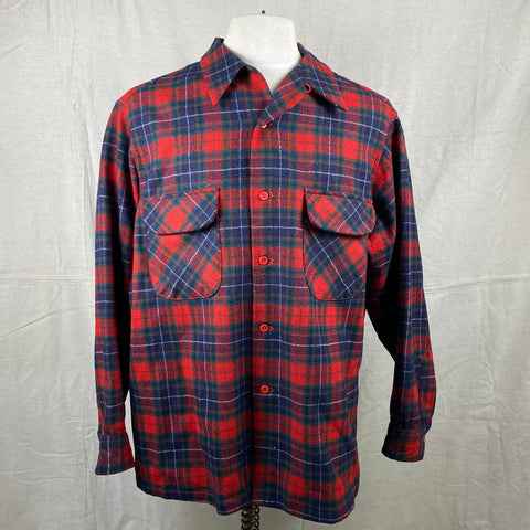 Front View of Vintage Red, Blue & Green Pendleton Board Shirt SZ XL