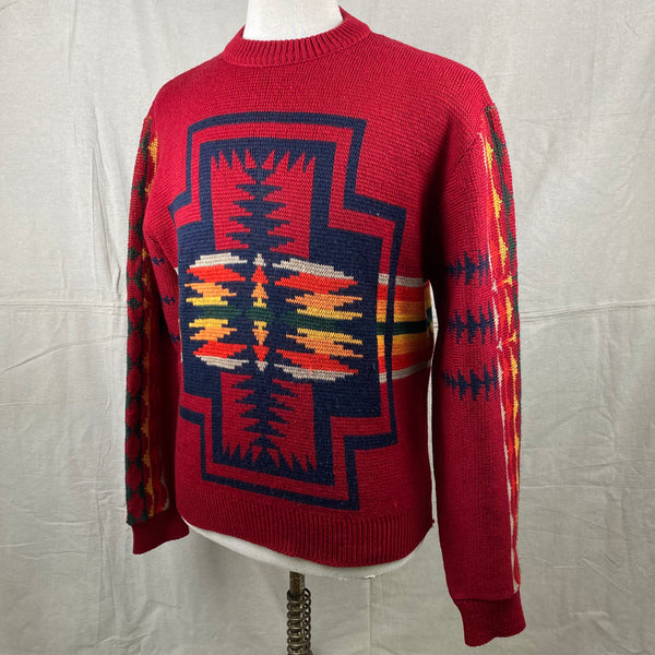 Left Angle View of Vintage Pendleton High Grade Western Wear Wool Sweater SZ L