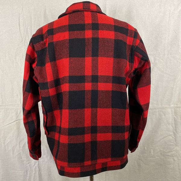 Rear View of Union Made Buffalo Plaid Filson Mackinaw Cruiser