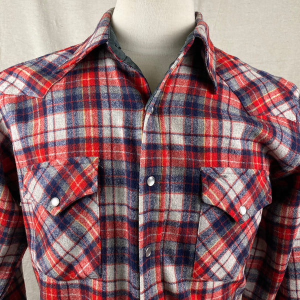 Front Upper Chest View of Vintage Pendleton Red & Blue Plaid High Grade Western Wear Flannel Shirt SZ L