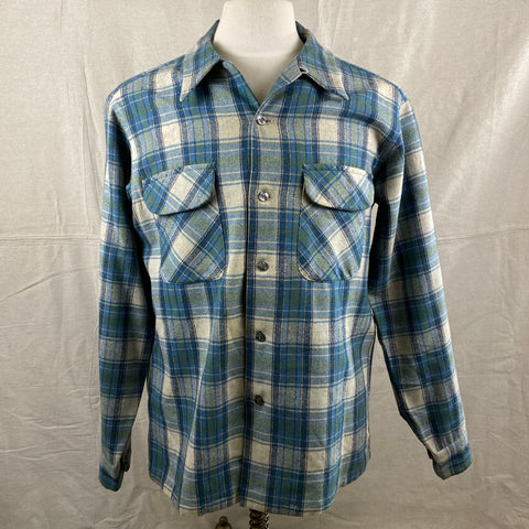 Front View of Vintage Pendleton Blue/Green Plaid Wool Flannel Shirt SZ L