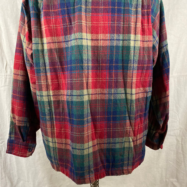 Lower Rear View of Pendleton Red Blue & Green Plaid Wool Board Shirt SZ XL