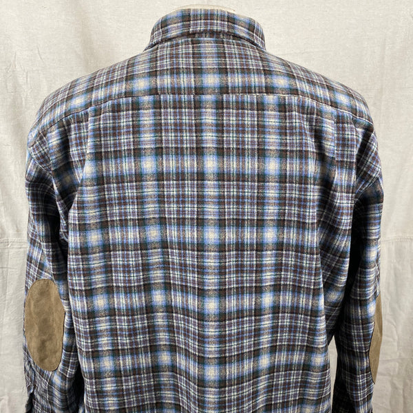 Upper Rear Shoulder View on Pendleton Blue & Brown Trail Shirt SZ L