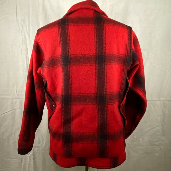 Rear View of Vintage Union Made 75% Red Filson Hunter Wool Coat Style 85