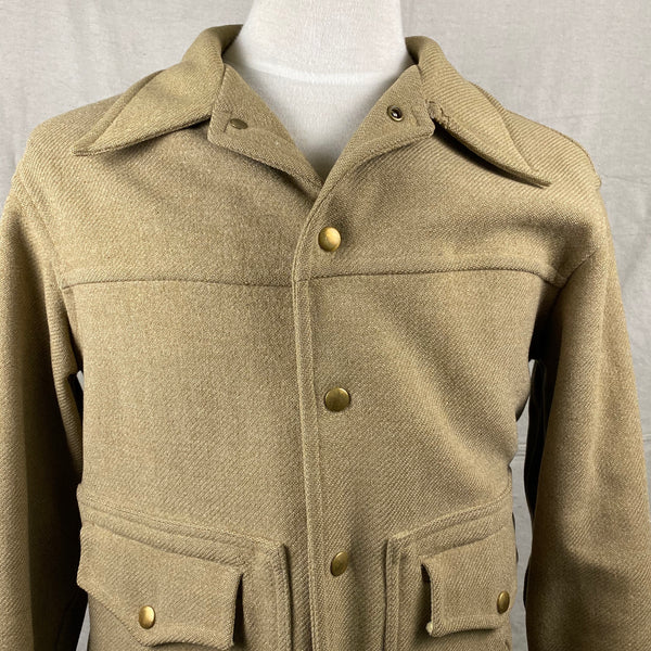 Front Chest View of Vintage Pendleton Wool Tan Coat