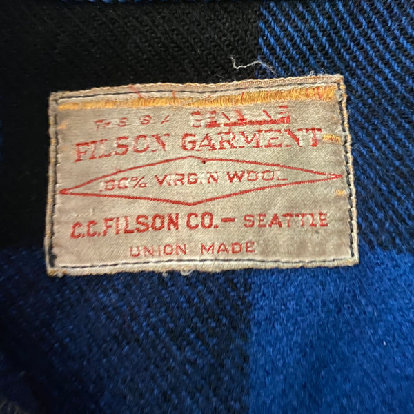 Filson Union Made Tag on Vintage Union Made Cobalt Filson Mackinaw