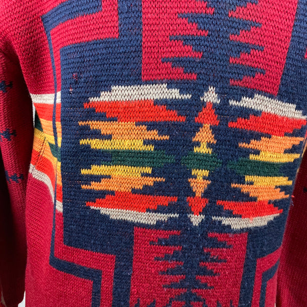 Perspective Shot of Snag on Front Chest on Vintage Pendleton High Grade Western Wear Wool Sweater SZ L