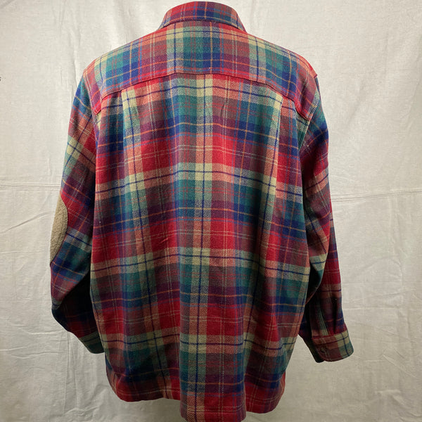 Rear View of Pendleton Red Blue & Green Trail Shirt SZ XL