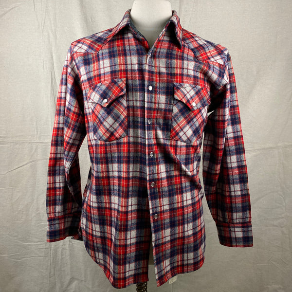 Front View of Vintage Pendleton Red & Blue Plaid High Grade Western Wear Flannel Shirt SZ L