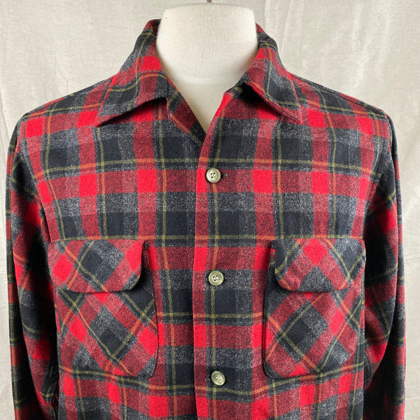 Upper Chest View of Vintage 50s/60s Era Red and Black Pendleton Board Shirt SZ M