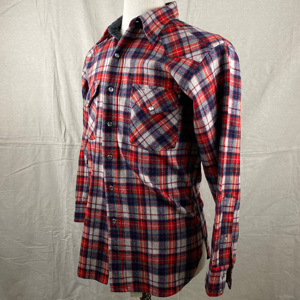 Left Angle View of Vintage Pendleton Red & Blue Plaid High Grade Western Wear Flannel Shirt SZ L