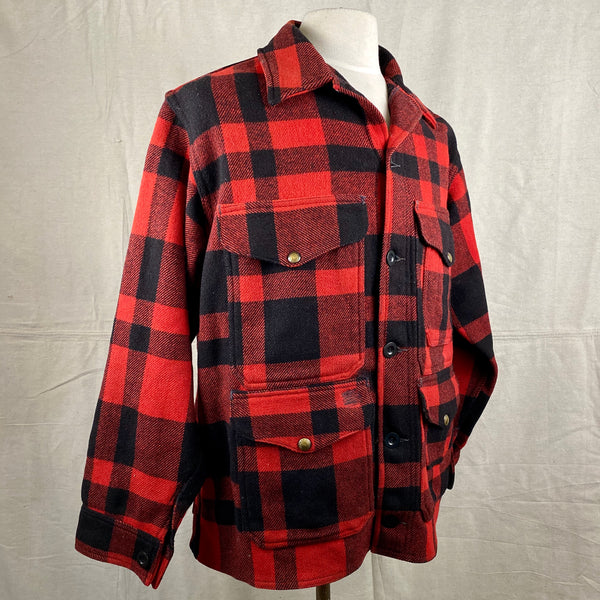 Right Angle View on Vintage Union Made Filson Mackinaw Wool Cruiser Red and Black Buffalo Plaid