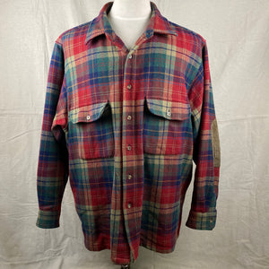 Front View of Pendleton Red Blue & Green Trail Shirt SZ XL
