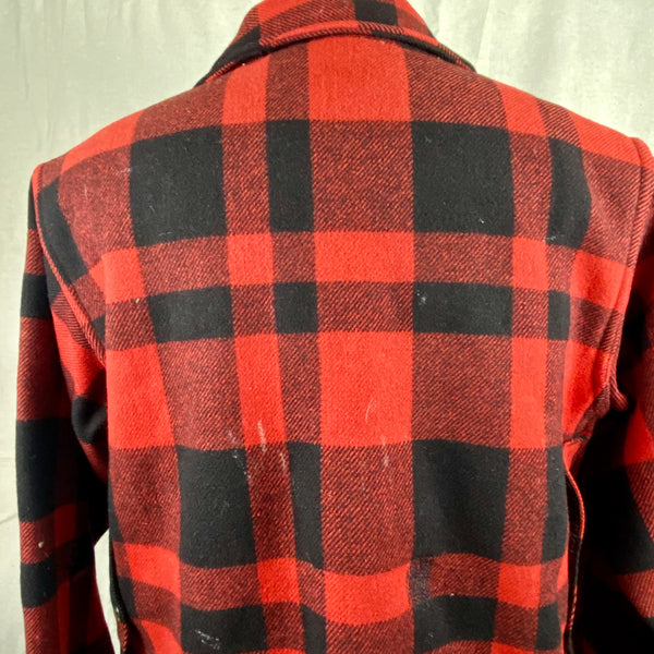 Upper Rear View on Vintage Union Made Filson Mackinaw Wool Cruiser Red and Black Buffalo Plaid