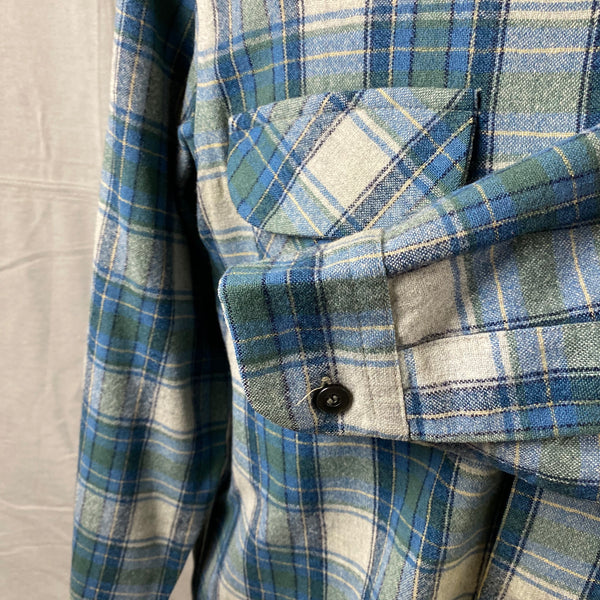 Left Cuff View of Vintage Pendleton Blue/Green Plaid Wool Flannel Shirt SZ L