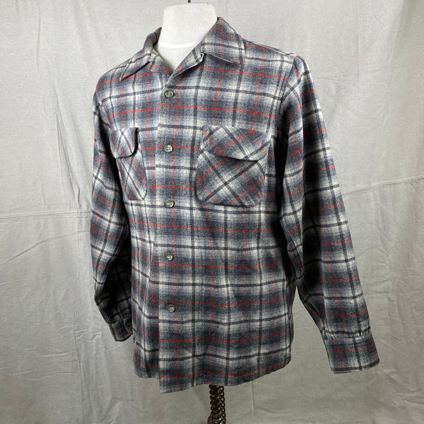Left Angle View of Vintage Pendleton Grey & Red Plaid Wool Board Shirt SZ M