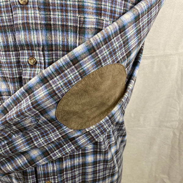 Left Elbow Patch View of Pendleton Blue & Brown Trail Shirt SZ L