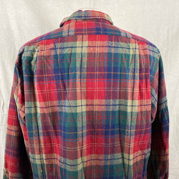Upper Rear View of Pendleton Red Blue & Green Plaid Wool Board Shirt SZ XL