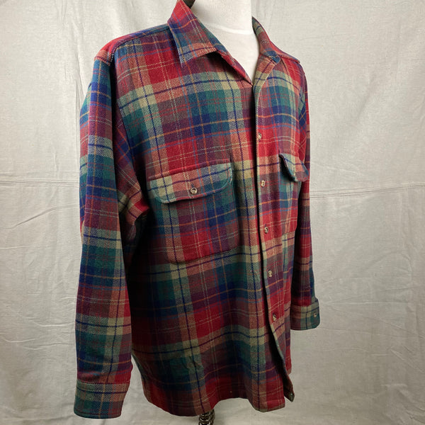 Right Angle View of Pendleton Red Blue & Green Trail Shirt SZ XL