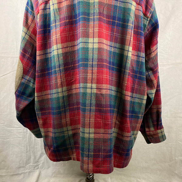 Upper Rear View of Pendleton Red Blue & Green Trail Shirt SZ XL